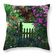Garden Bench And Trellis Throw Pillow