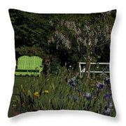 Garden Bench Green Throw Pillow