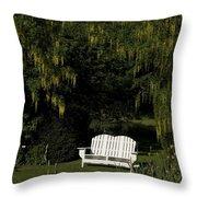 Garden Bench White Throw Pillow