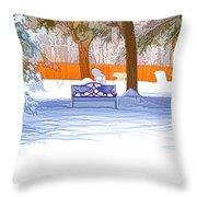 Garden  Bench With Snow Throw Pillow