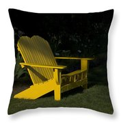 Garden Bench Yellow Throw Pillow