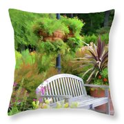 Garden Benches 5 Throw Pillow