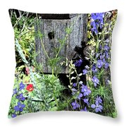 Garden Birdhouse Throw Pillow