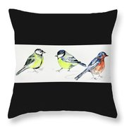 Garden Birds Throw Pillow