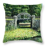 Garden Bridge Throw Pillow
