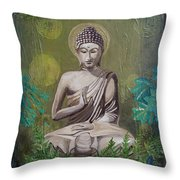Garden Buddha Throw Pillow
