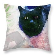 Garden Cat- Art By Linda Woods Throw Pillow