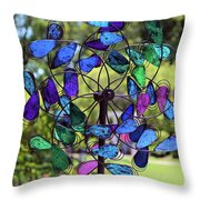 Garden Colored Fan Throw Pillow