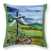Garden Cross Throw Pillow