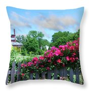Garden Fence And Roses Throw Pillow