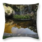 Garden Fountain Pond Throw Pillow