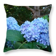 Garden Landscape Blue Hydrangeas Art Print Baslee Troutman Throw Pillow
