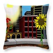 Garden Landscape II - Across The Urban Jungle Throw Pillow