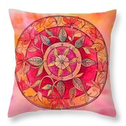 Garden Mandala Throw Pillow