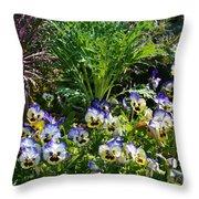 Garden Pansies Throw Pillow