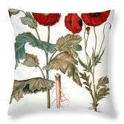 Garden Poppy Throw Pillow