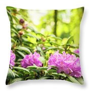 Garden Rododendron Bush Throw Pillow