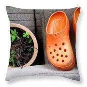 Garden Shoes Waiting Throw Pillow