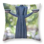 Garden Statue Dreams Throw Pillow