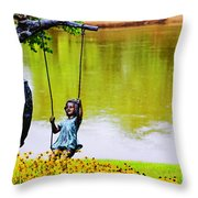 Garden Swing By The River Throw Pillow