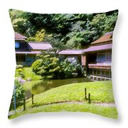Garden Tea Houses Throw Pillow