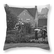 Garden Tour In The Rain Monotone Throw Pillow