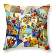 Garden Tower With Butterfly Throw Pillow