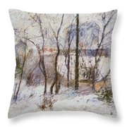 Garden Under Snow Throw Pillow
