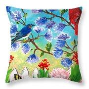 Garden View Birds And Butterfly Throw Pillow