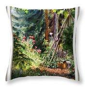 Garden View Window Throw Pillow