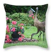 Garden Visitors Throw Pillow by Carol Groenen
