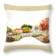 Garden Wild Flowers Watercolor Throw Pillow