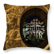 Illuminated Night View - Beautiful Revival House Through A Fence Window Throw Pillow
