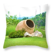 Garden With Amphora. Throw Pillow