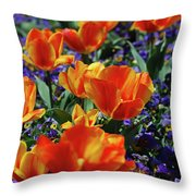 Garden With Blooming Yellow And Red Tulip Blossoms Throw Pillow