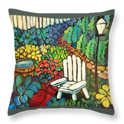 Garden With Lamp By Peggy Johnson Throw Pillow