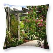 Garden With Roses Throw Pillow by Elena Elisseeva