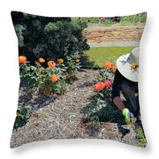 Gardener Pulling Weeds  Throw Pillow