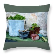 Gardening Pots And Small Shovel Against Stone Wall In Primosten, Croatia Throw Pillow