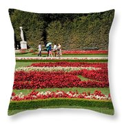 Gardens Of The Schloss  Schonbrunn  Vienna Austria Throw Pillow