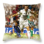 Gareth Bale Celebrates His Goal  Throw Pillow
