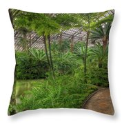 Garfield Park Conservatory Pond And Path Chicago Throw Pillow