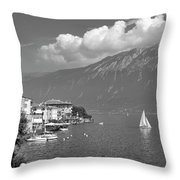 Gargnano On Lake Garda, Italy.    Black And White Throw Pillow