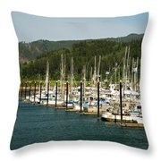 Garibaldi Oregon Marina Throw Pillow