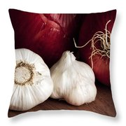 Garlic And Onions Throw Pillow