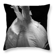 Garlic Bulb B W Throw Pillow