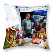 Garlic Festival Vendors Throw Pillow