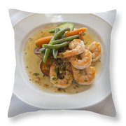 Garlic Prawns Throw Pillow by Louise Heusinkveld