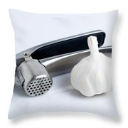Garlic Press With Garlic Throw Pillow