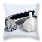 Garlic Press With Garlic Throw Pillow by Tom Mc Nemar